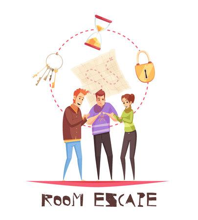 Concepto de diseño de escape de habitación con tres figuras de jugadores adultos y llaves de reloj de bloqueo iconos de dibujos animados ilustración vectorial