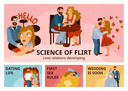Developing love relations set of horizontal banners with flirting, romantic datings, first sex, wedding isolated vector illustration