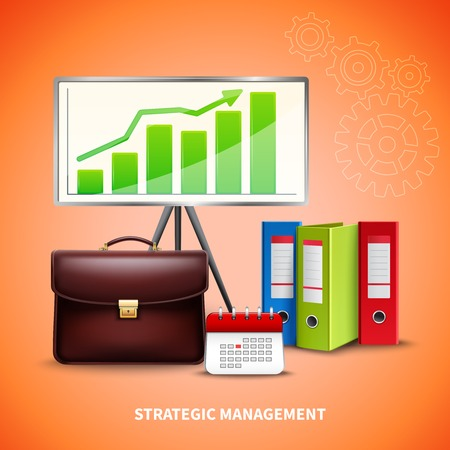 Realistic strategic management business concept with tools for planning on bright background vector illustration