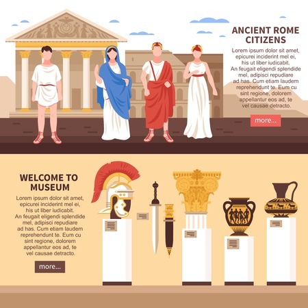 Ancient rome 2 flat horizontal banners webpage design with museum art masterpieces culture and citizens vector illustration