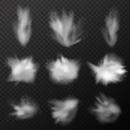 Explosion set of realistic explosive clouds with translucent vapour fog and small particles on transparent background vector illustration Vectores