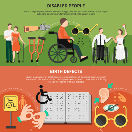 Disabled person flat banner set with disabled people and birth defects headlines vector illustration
