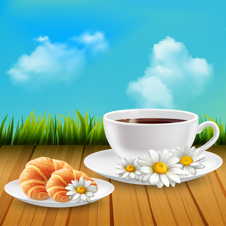 Daisy realistic breakfast composition with cup of coffee and a croissant and flowers scattered around vector illustration Illustration