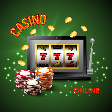 Colored casino realistic composition with casino online headline and dark green background vector illustration Imagens - 96399070