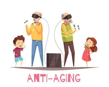 Anti aging design concept with two grandparents with virtual reality headset and their laughing grandchildren cartoon vector illustration Çizim