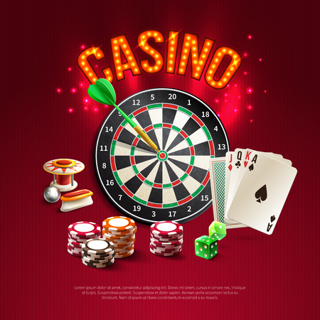 Games realistic poster with big bright and red headline on dark stylish background with card dart dice and roulette vector illustration