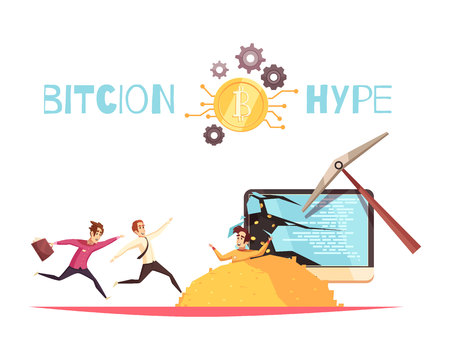 Bitcoin hype design concept with people running to heap of bitcoins dropping out computer screen broken by mining pick flat vector illustration  Çizim