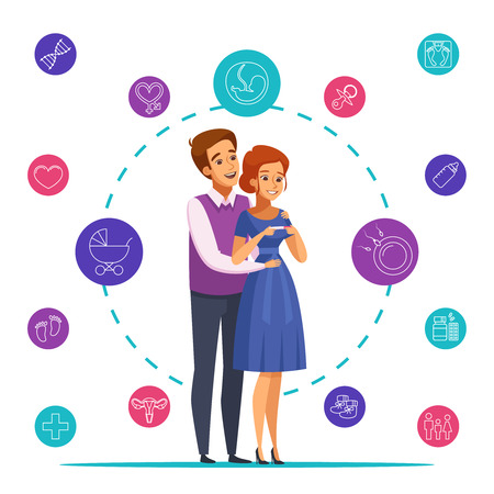 Pregnancy cartoon composition on white background with happy couple waiting baby, colorful round icons vector illustration