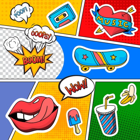 Comic book page with emotions, sound effects and other icons on colorful divided background.