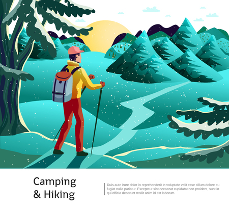 Camping hiking background poster with tourist holding nordic walking sticks on green meadow with conifers vector illustration Stock Illustratie