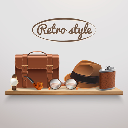 Retro style gentleman accessories on wooden shelf realistic composition with briefcase glasses watch hat pipe vector illustration