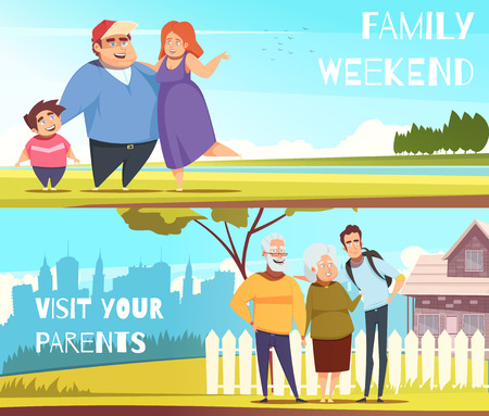 Families set of horizontal banners with weekend on nature and visit to parents, isolated vector illustration