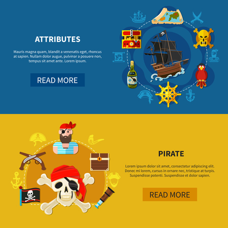 Set of horizontal cartoon banners with pirate attributes including ship, flag, treasure chest, guns isolated vector illustration