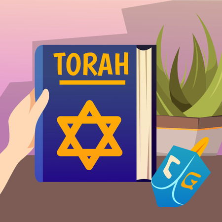Cartoon jews characters composition with human hand holding the torah book of jewish and christian scriptures vector illustration