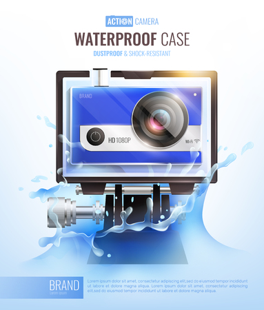 Action camera and waterproof case poster with dustproof case symbols realistic vector illustration