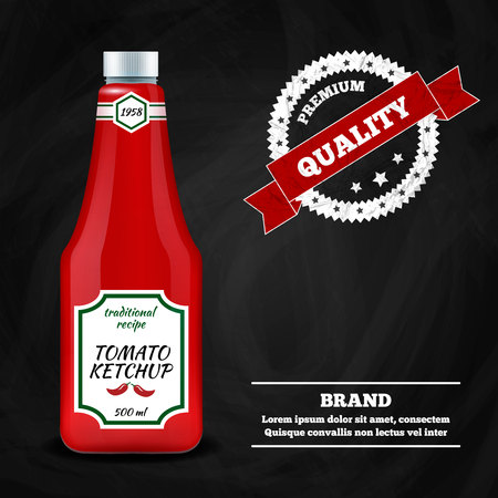 Tomato ketchup sauce bottle realistic advertisement composition poster with round quality sign emblem black background vector illustration