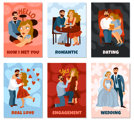 Developing love relations set of vertical cards with first meeting, romantic dating, engagement, wedding isolated vector illustration