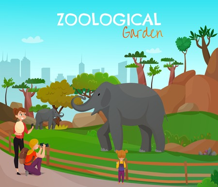 Zoological garden poster with adults and kids looking for wild elephants living in zoo vector illustration Ilustração