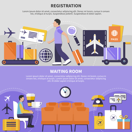 People sitting in waiting room and checking in at airport horizontal banners set isolated vector illustration Ilustracja