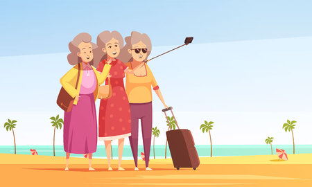 Group of three elderly women with baggage making selfie on south beach background flat vector illustration Illustration