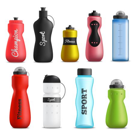 Butelki na wodę fitness do biegania i sportu różne kształty, rozmiary i kolory, kolekcja realistycznych obiektów na białym tle ilustracji wektorowych Ilustracje wektorowe