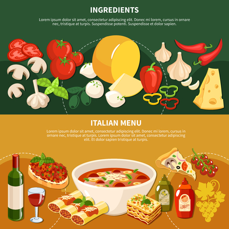 Italian menu horizontal banners with ingredients and dishes of traditional national cuisine flat vector illustration