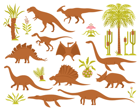 Dino mesozoic era flora set with flat isolated images of prehistoric plants and various dinosaur species vector illustration