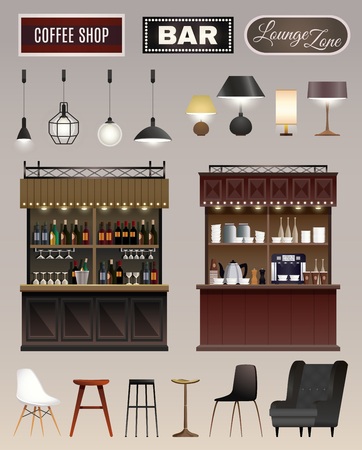 Coffee shop bar interior elements collection with counters wine liquor shelves lamps chairs stools isolated vector illustration