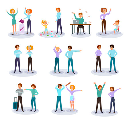 Characters expressing anger cartoon icons collection with fighting quarreling couples work frustration annoying kids isolated vector illustration