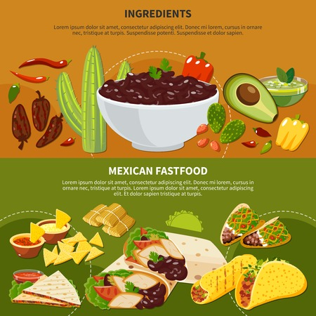 Horizontal banners with mexican dishes ingredients and fastfood on terracotta and green background isolated vector illustration