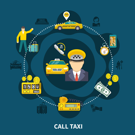 Taxi round composition of silhouette icons and flat images of car service related items with people vector illustration Stock Illustratie