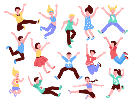 Jumping children set of flat isolated icons with human characters of teenage kids in various poses vector illustration