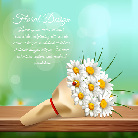 Daisy realistic gentle composition with bouquet of chamomiles and floral design headlines vector illustration