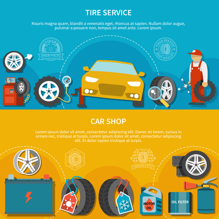 Colorful set of two horizontal banners with car shop and mechanic repairing vehicle at tire service flat isolated vector illustration Illustration
