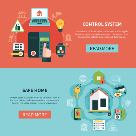 Set of flat horizontal banners with safe home and control system at electronic devices isolated vector illustration