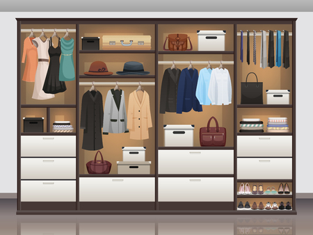 Bedroom wardrobe closet storage with interior organizers shoe racks and hanging rails for clothes realistic vector illustration Foto de archivo - 96436920