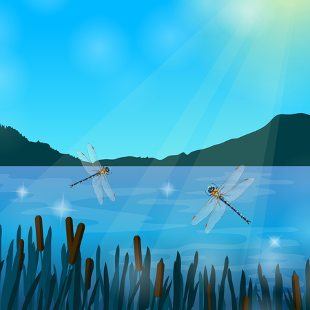 Two dragonflies flying over water in sun rays with mountains on background realistic composition vector illustration