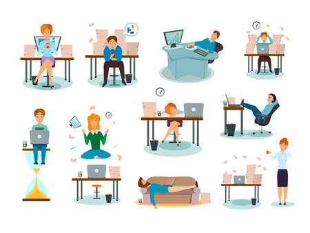 Procrastination characters overwhelmed with work delaying tasks sleeping in workplace distracted symptoms cartoon icons collection vector illustration  Vettoriali