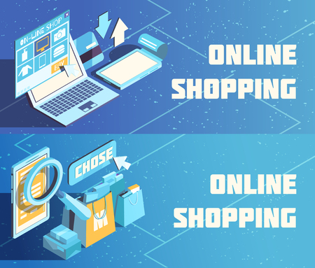 Online shopping horizontal isometric banners on blue background with product choice, electronic payment isolated vector illustration Illustration