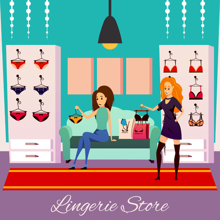 Lingerie store flat colorful square composition background with two female customer human characters in shop interior vector illustration