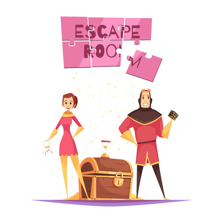 Reality quest design concept with young couple in theatrical costumes and treasure chest cartoon vector illustration