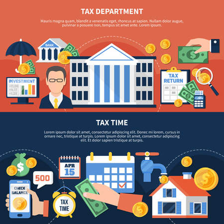 Flat horizontal banners with financial department and tax time on red and black background isolated vector illustration Illustration