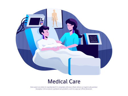 Medical care poster with doctor attending patient in intensive care unit with life support equipment vector illustration