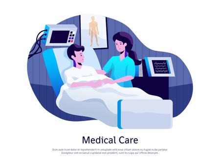 Cartel de atención médica con el médico que atiende al paciente en la unidad de cuidados intensivos con ilustración de vector de equipo de soporte vital Ilustración de vector