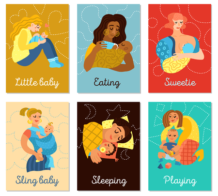 Motherhood set of vertical cards with women and little babies during playing, eating, sleeping, isolated vector illustration   Stock Illustratie