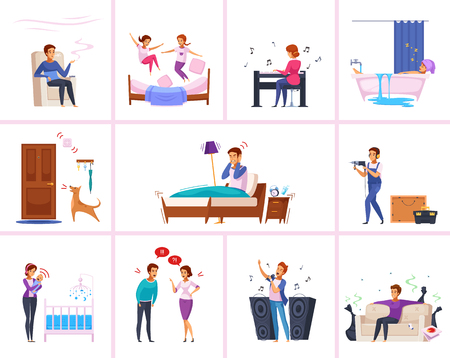 Neighbors relations cartoon characters with chain smoker, barking dog, spoiled kids, woman playing piano isolated vector illustration