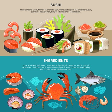 Two colored and horizontal sushi flat banner set with sushi and ingredients descriptions vector illustration