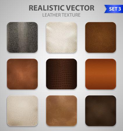 Le toppe realistiche dei campioni di colore di struttura del cuoio sintetico genuino e artificiale di alta qualità hanno messo l'illustrazione grigia di vettore del fondo Archivio Fotografico - 96436941