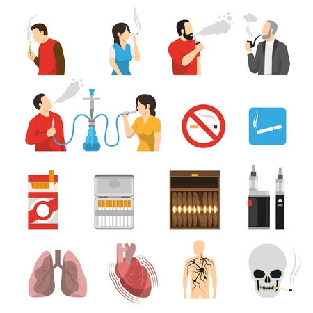 Smoking vaping shisha hookah products accessories ban signs and health risks flat icons collection isolated vector illustration.