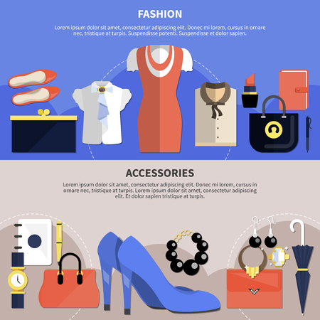 Clothes concept set with two flat horizontal banner set and fashion accessories descriptions vector illustration Illustration